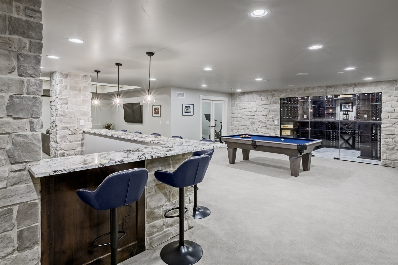 overall basement with bar pool table and wine cellar