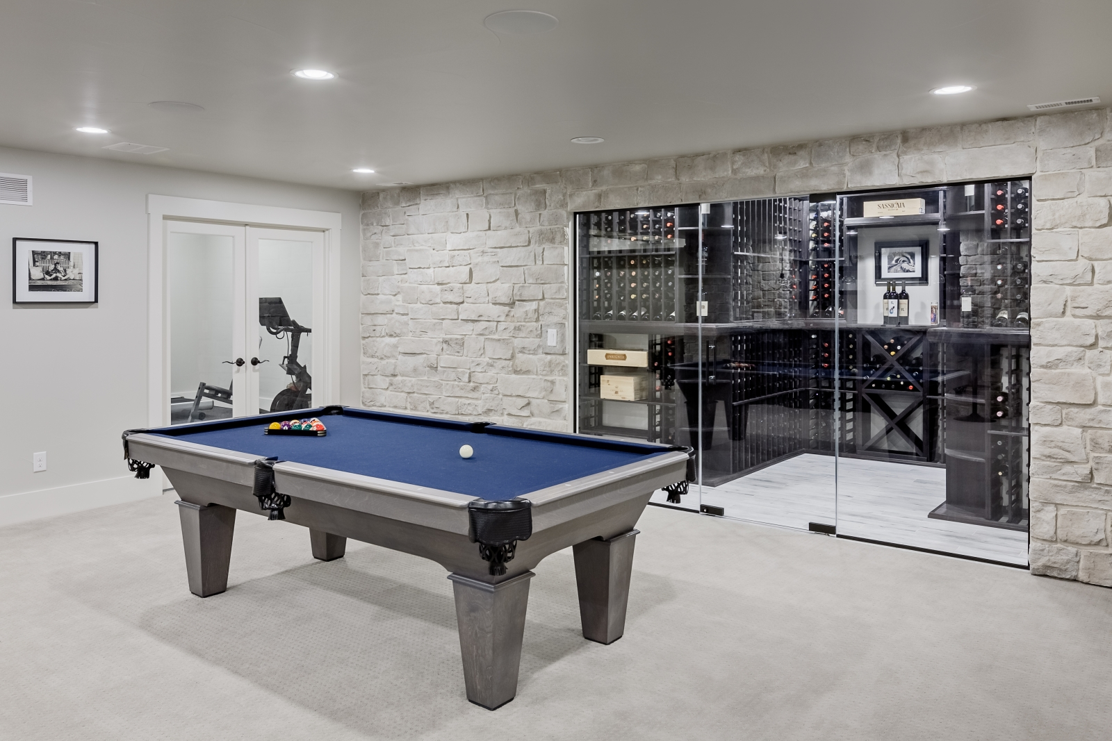 pool table and wine cellar